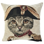Cushion cover Cat Napoleon blue - Jules Pansu