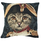 Napoleon blue cat cushion cover - Jules Pansu