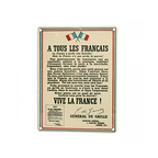 Plaque Vive La France