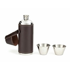 Leather Flask with shot glasses